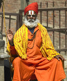 Sadhu - Kathmandu in Nepal. A ascetic Sadhu (Hindu holy man) outside a temple in Kathmandu in Nepal Royalty Free Stock Photo