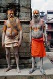 Sadhu män som välsignar i det Pashupatinath tempelet Royaltyfria Bilder