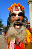 Sadhu man with long beard Stock Images