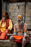 Sadhu men, blessing in Pashupatinath Temple Royalty Free Stock Image