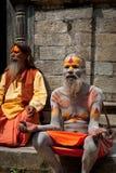 Sadhu men, blessing in Pashupatinath Temple Royalty Free Stock Image