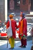 Sadhu men seeking alms in Durbar square. Kathmandu, Nepal Royalty Free Stock Photos