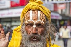 Sadhu på gatorna av Katmandu Arkivbilder