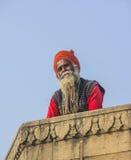 Sadhu på ghatsna av varanasi Fotografering för Bildbyråer