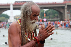 Sadhu praying Stock Photos
