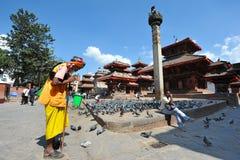 A sadhu prays at Durbar Square Royalty Free Stock Image