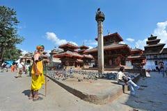 A sadhu prays at Durbar Square Royalty Free Stock Photos