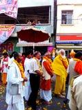 Sadhu procession in the streets of Ujjain during simhasth maha kumbh mela 2016, India Royalty Free Stock Photo