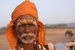 Sadhu in Rajasthan, India - November 2011 Royalty-vrije Stock Afbeeldingen