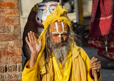 Sadhu, a religious ascetic or holy person in Kathmandu Stock Photos