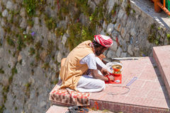 A Sadhu selling beads in Uttarakhand, North India Royalty Free Stock Image