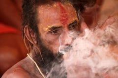 Sadhu smoke chillum Stock Images
