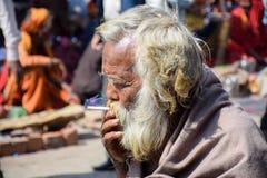 Sadhu Smoking santamente em Pashupatinath nepal imagens de stock