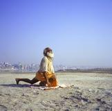 Varanasi, India, Sadhu performing yoga. A Hindu Sadhu performing a Sun Salutation in Varanasi, India Stock Photos