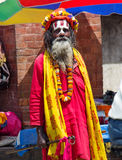 Sadhu with traditional painted face , Nepal Royalty Free Stock Image