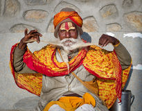 Sadhu with traditional painted face , Nepal Stock Image