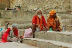 Sadhu with traditional painted face  in Varanasi Stock Photos