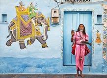 Sadhu in Udaipur stockbild