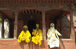 Sadhu - uomini santi - Kathmandu - il Nepal Fotografie Stock Libere da Diritti