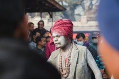 Sadhu, uomo santo al festival 2018 di Mahashivaratri a Pashupatinath Immagini Stock Libere da Diritti