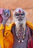 Sadhu velho em Pashupatinath, Nepal do shaiva fotografia de stock