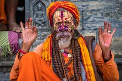 Sadhu w Kathmandu mieście, Nepal Zdjęcie Stock