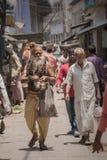 Sadhu on street in Varanasi India royalty free stock images