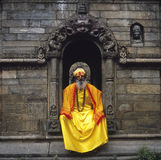 Sadhu in Yellow at Pashupatinath Temple Stock Photography