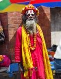 Sadhu z tradycyjną malującą twarzą, Nepal Obraz Royalty Free