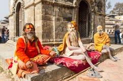 Sadhus на виске Pashupatinath Стоковые Фото