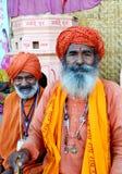 Sadhus de port de turban dans le mela 2016, Inde de kumbh de Maha de simhasth d'Ujjain Photo libre de droits