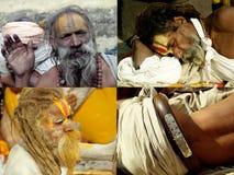 Sadhus in den verschiedenen Haltungen Lizenzfreie Stockfotografie