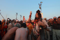 Sadhus gathered to take bath at Kumbh Mela Royalty Free Stock Photos