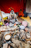 Sadhus (Hindu Saint) and his tent. Stock Photo
