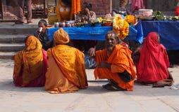 Sadhus in kathmandu. Group of sadhus Stock Image