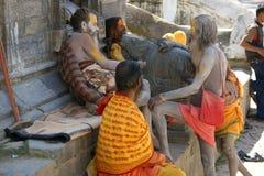 Sadhus in Kathmandu, Nepal. Sadhus near Pashupatinath temple in Kathmandu, Nepal royalty free stock images