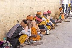 Sadhus at mandir Royalty Free Stock Photography