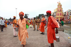 Sadhus participate in the religious event Kumbh Mela. Unidentified Sadhus participate in the religious event Kumbh Mela on September 14, 2015 in Nashik, India Royalty Free Stock Photo