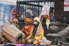 Sadhus, uomini santi al festival 2018 di Mahashivaratri a Pashupatinath Fotografie Stock Libere da Diritti