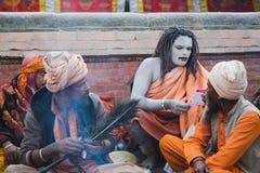 Sadhus, uomini santi al festival 2018 di Mahashivaratri a Pashupatinath Fotografia Stock