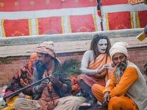 Sadhus, uomini santi al festival 2018 di Mahashivaratri a Pashupatinath Immagine Stock Libera da Diritti