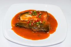 Sadine-Fische in der Tomatensauce, Paprika an, Zitronensaft auf Weiß stockfotografie