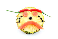 Sadly Face of Emotion image made ​​from mix fruits. Royalty Free Stock Image