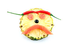 Sadly Face of Emotion image made ​​from mix fruits. Royalty Free Stock Photos