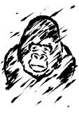 Sadly gorilla illustration brush style Stock Photography