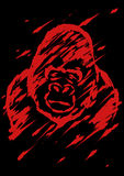 Sadly gorilla illustration brush style Stock Image