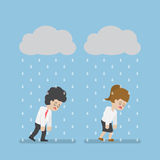 Sadness Businessman Walking Under Cloud and Rain. Sadness Businessman and Businesswoman Walking Under Cloud and Rain. Business Failure and Stress Concept Stock Images