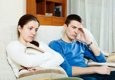 Sadness  couple having problems. At home Royalty Free Stock Image