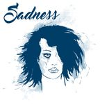 Sadness. Crying woman face. Sad brunette with a tear running down her cheek. Vector illustration in grunge style Royalty Free Stock Image