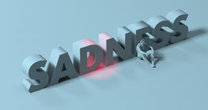 Sadness - 3d render lettering sign, near tired depressed man, il Stock Image